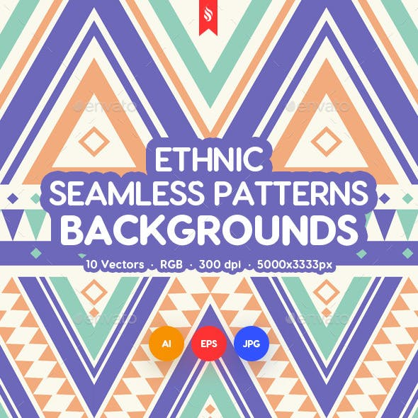 Ethnic Ornamental Seamless Patterns / Backgrounds