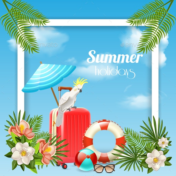 Tropical Holidays Frame Background - Miscellaneous Vectors