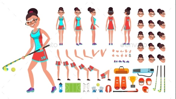 Field Hockey Player Female Vector. - Sports/Activity Conceptual