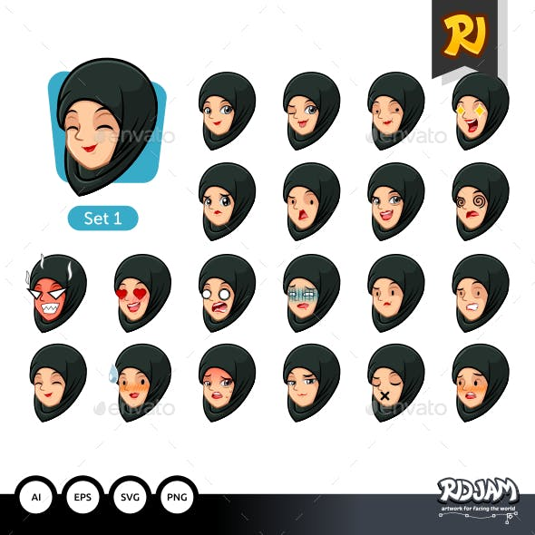 The First Set of Muslim Woman in Black Hijab Cartoon Avatars
