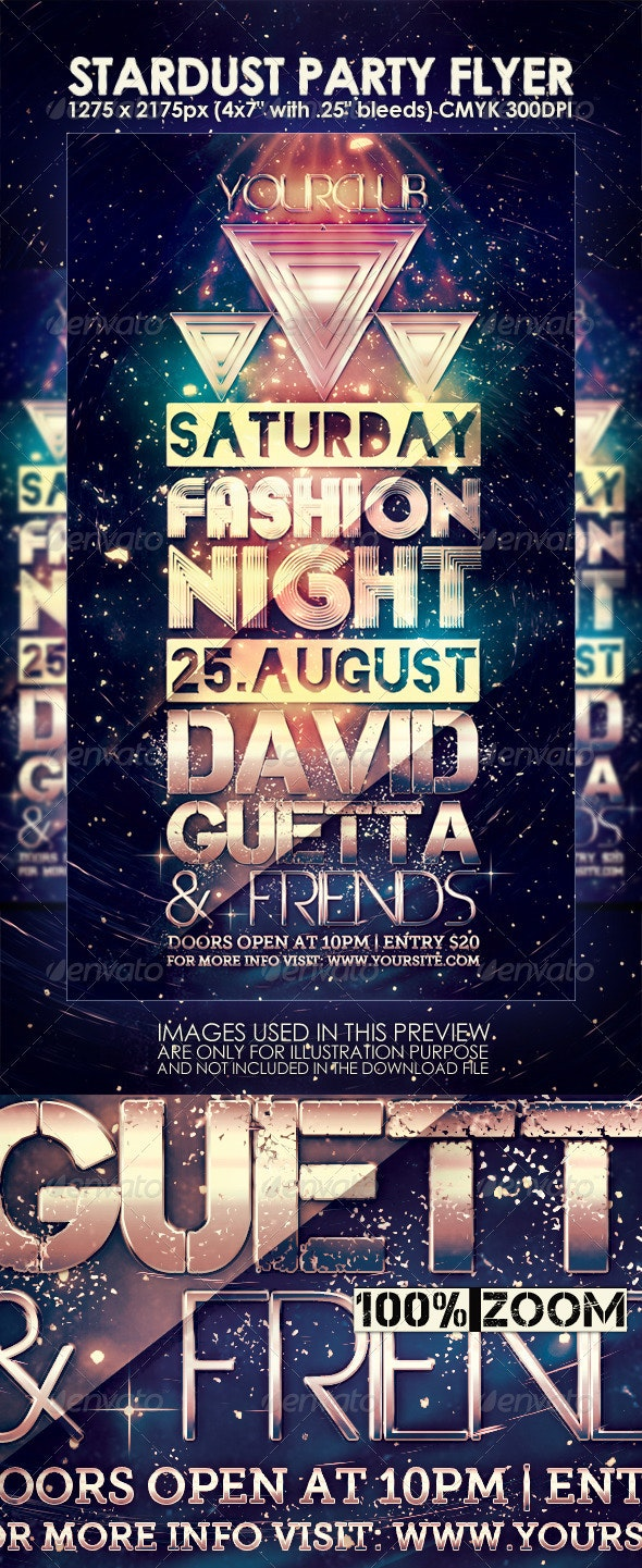 Stardust Night Club Party Flyer  - Clubs & Parties Events