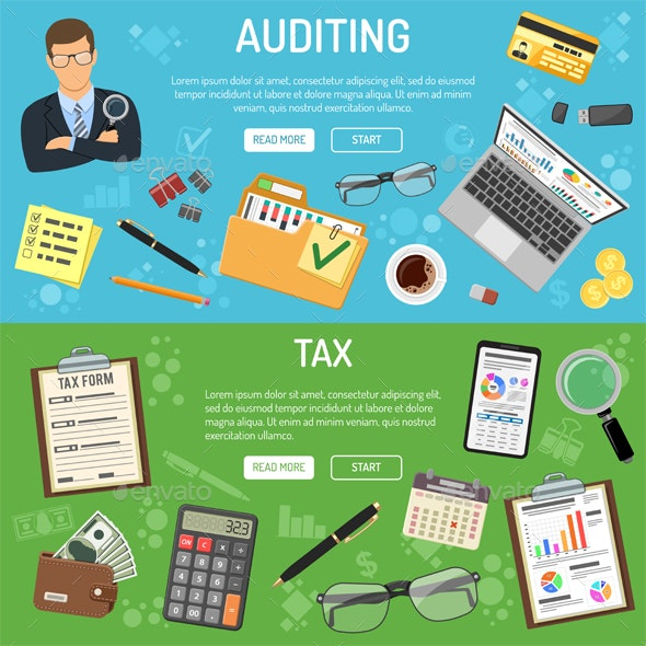 Auditing, Tax and Business Accounting Banners - Concepts Business