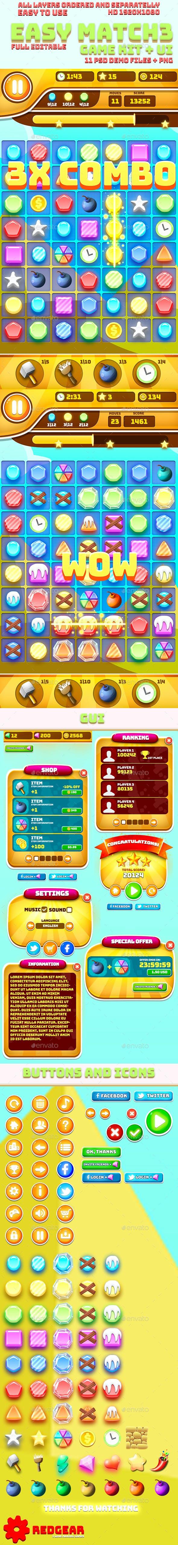 Easy Match-3 Game Kit + UI