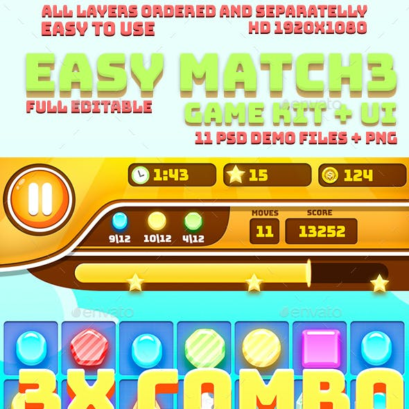 Easy Match-3 Game Kit + UI
