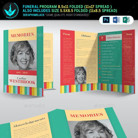 Colorful Funeral Program Template