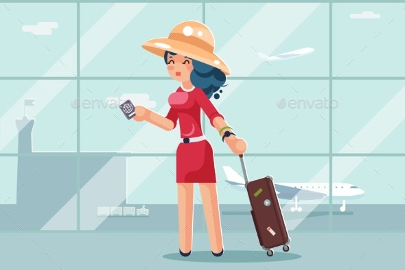 Travel Cute Woman Suitcase Passport Airport - People Characters