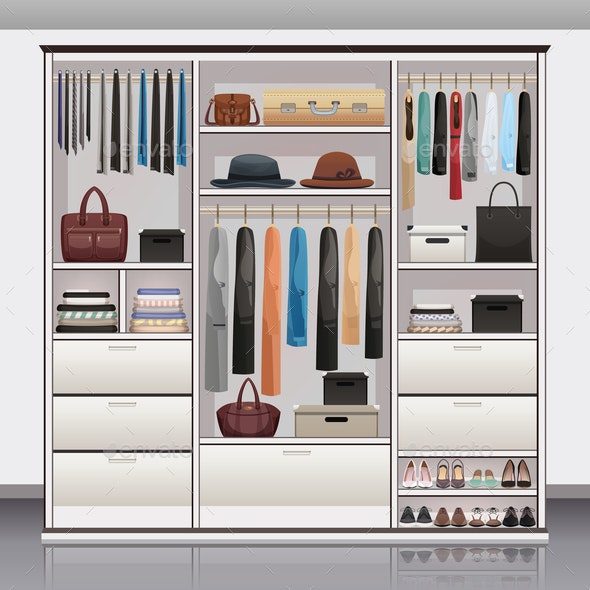 Wardrobe Storage Interior Realistic - Miscellaneous Vectors