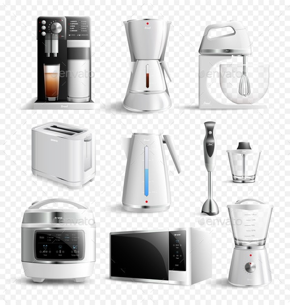 White Household Kitchen Appliances Transparent Icon Set - Man-made Objects Objects