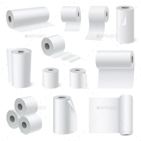 Bathroom Scroll Paper Realistic Set - Miscellaneous Vectors