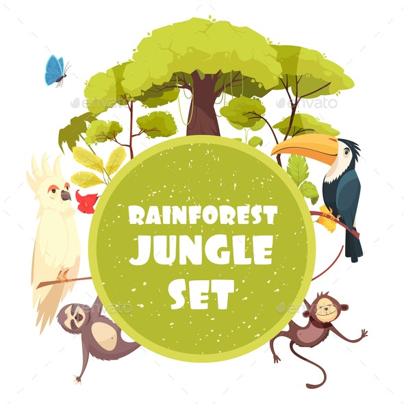 Jungle Decorative Frame - Animals Characters