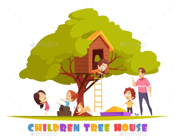 Children Tree House Cartoon Illustration