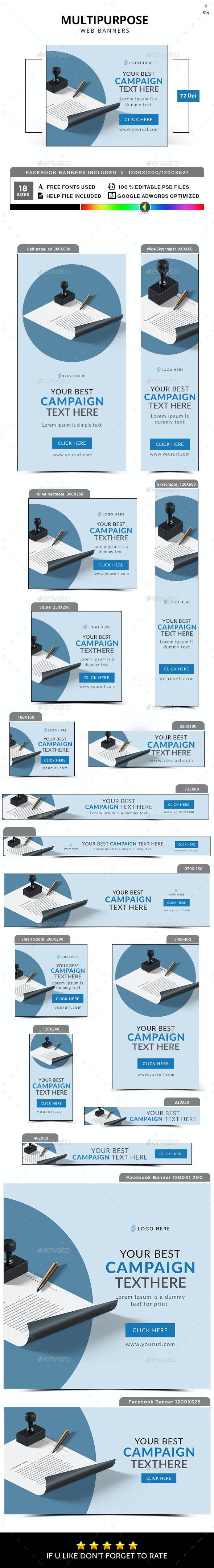 Multipurpose Banner Set - Banners & Ads Web Elements