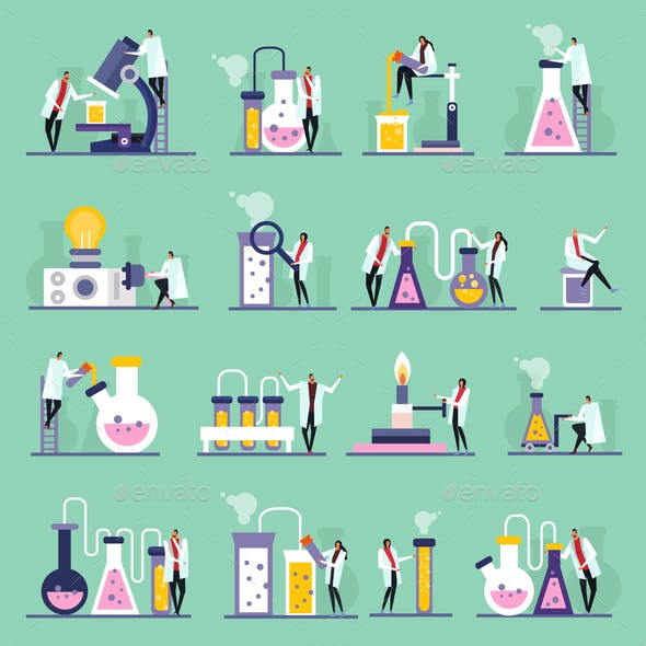 Science Lab Flat Icons