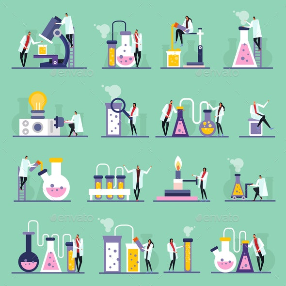 Science Lab Flat Icons - Miscellaneous Vectors