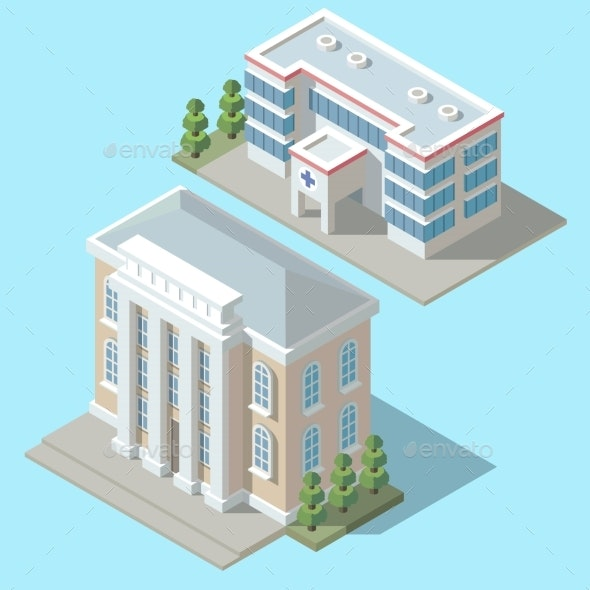 Vector Isometric Hospital - Health/Medicine Conceptual