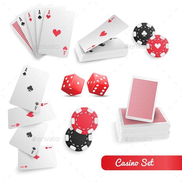 Casino Poker Realistic Set - Miscellaneous Vectors