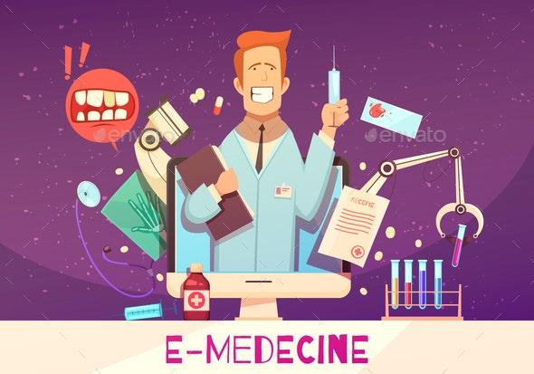 Digital Health Cartoon Illustration - Health/Medicine Conceptual