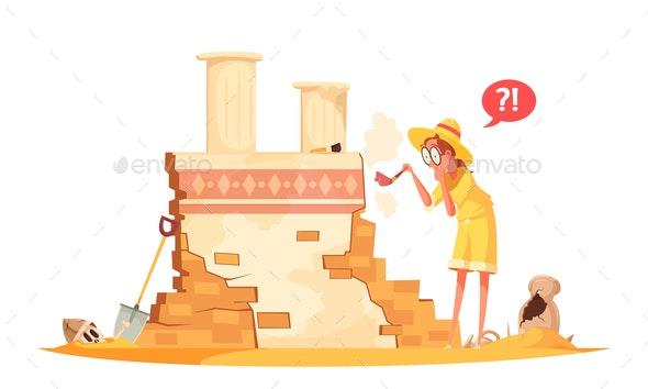 Ancient Architecture Archaeological Works Illustration - Miscellaneous Vectors
