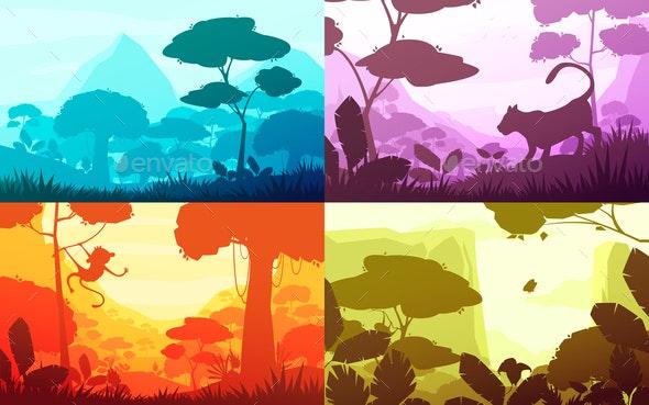Jungle Cartoon Landscapes Set - Animals Characters