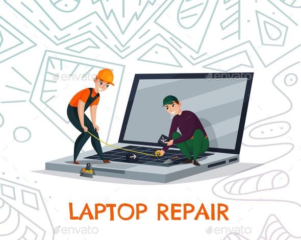 Laptop Repair Illustration - Computers Technology