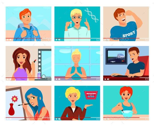 Video Bloggers Characters Flat Set - Miscellaneous Vectors