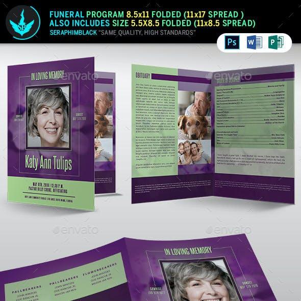 Lavender plus Green Funeral Program Template
