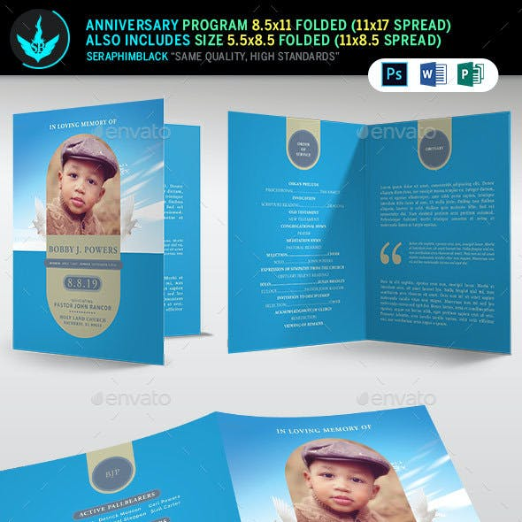 Baby Blue Funeral Program Template