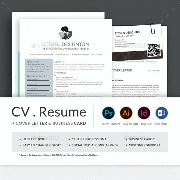 Resume CV with Business Card