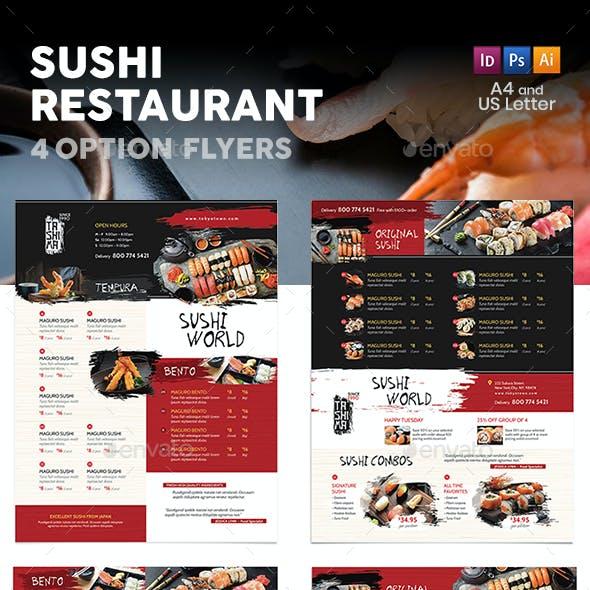 Sushi Restaurant Menu Flyers 3 – 4 Options