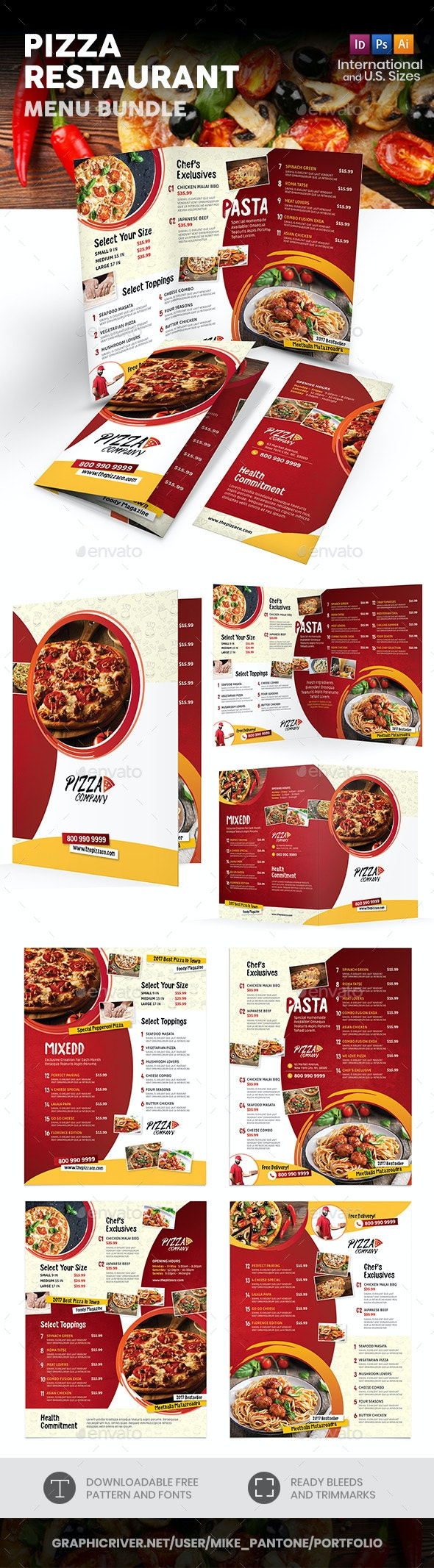 Pizza Restaurant Print Bundle 2 - Food Menus Print Templates