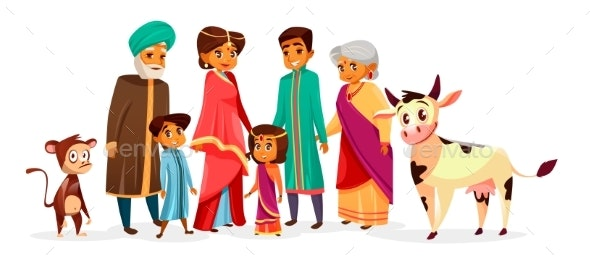 Indian Family Vector Cartoon Illustration - People Characters