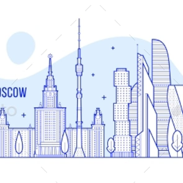 Moscow Skyline Russia City Buildings Vector
