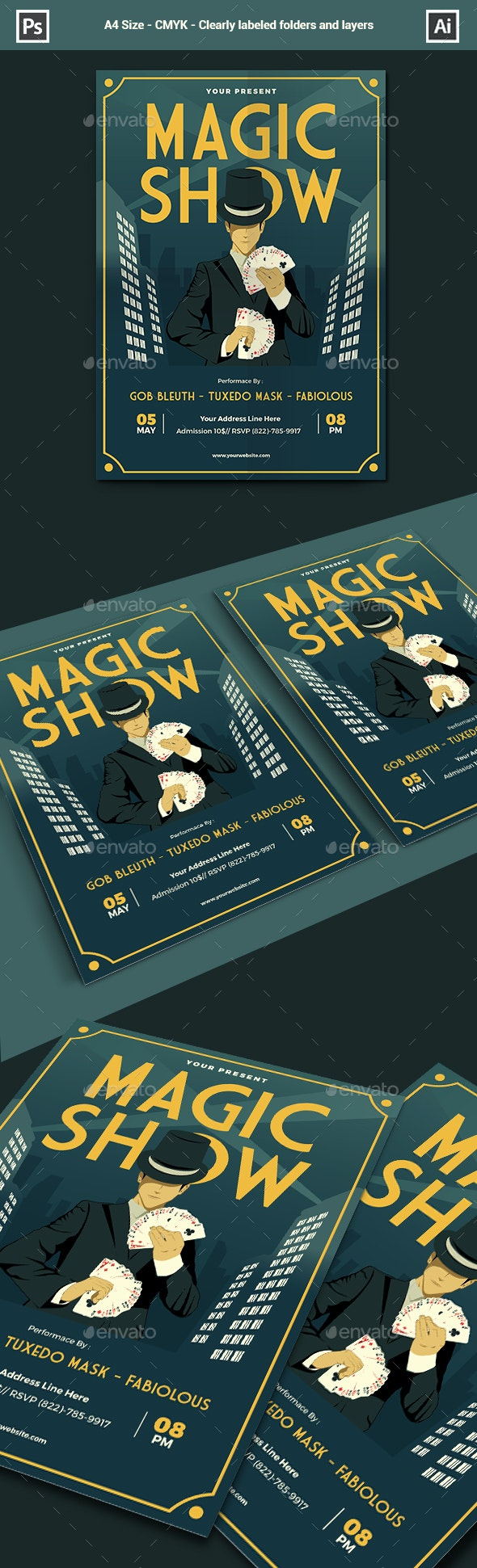 Magic Show Flyer / Poster Template - Events Flyers