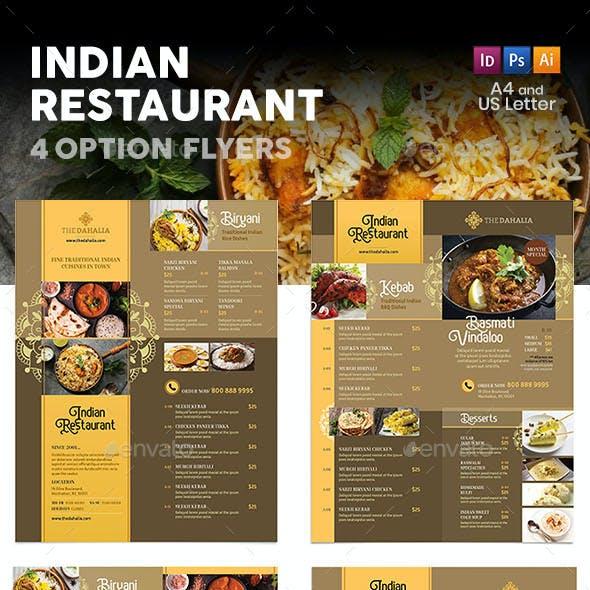 Indian Restaurant Menu Flyers 2 – 4 Options