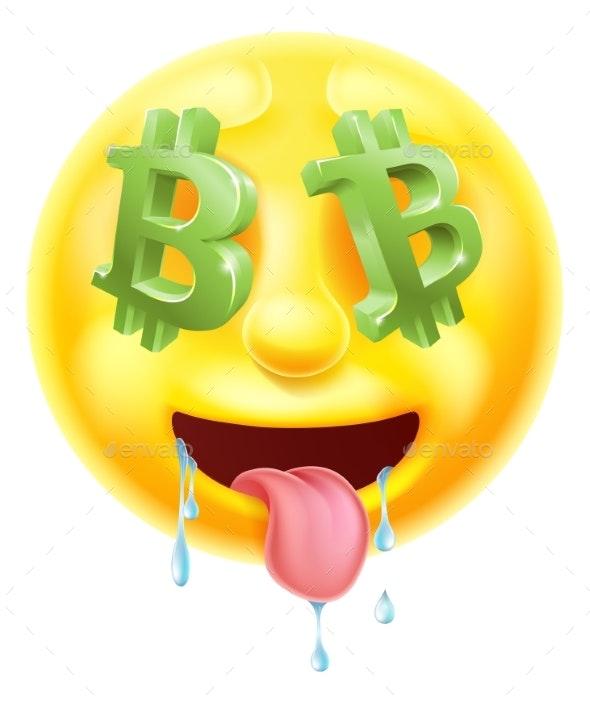 Bitcoin Sign Eyes Emoticon Emoji - Concepts Business