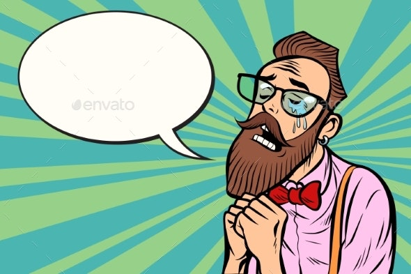 Stylish Bearded Hipster with Glasses Crying - People Characters