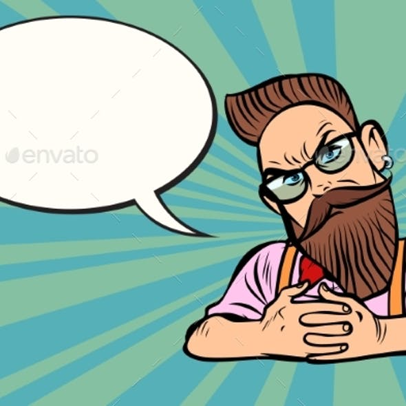 Stylish Bearded Hipster with Glasses Skeptical