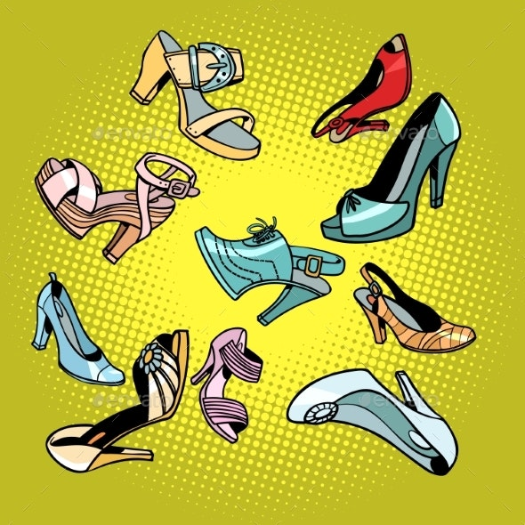 Fashionable Womens Shoes - Man-made Objects Objects