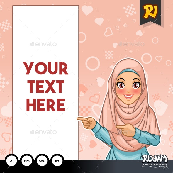 Muslim Woman Pointing Finger to The Right Side at Copy Space - People Characters