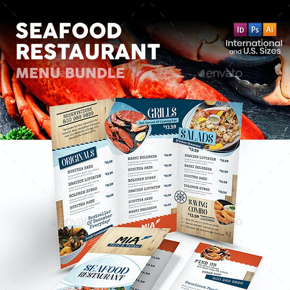 Seafood Restaurant Menu Print Bundle 3