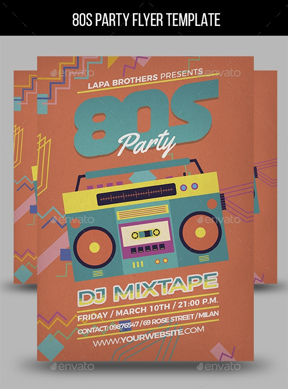 80s Party Flyer Template - Events Flyers