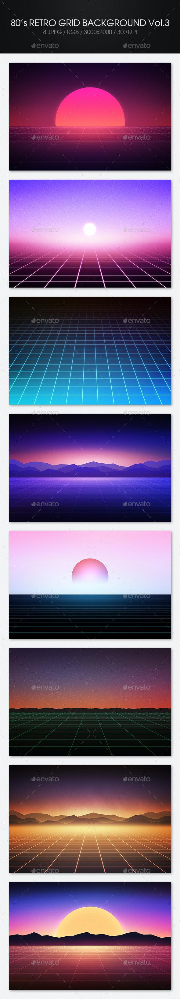 80's Retro Grid Background Vol.3 - Tech / Futuristic Backgrounds