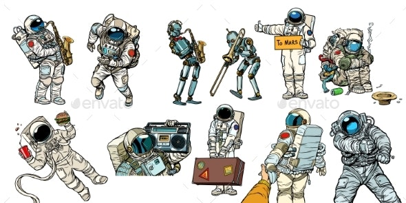 Set Collection Astronauts and Robots - Technology Conceptual