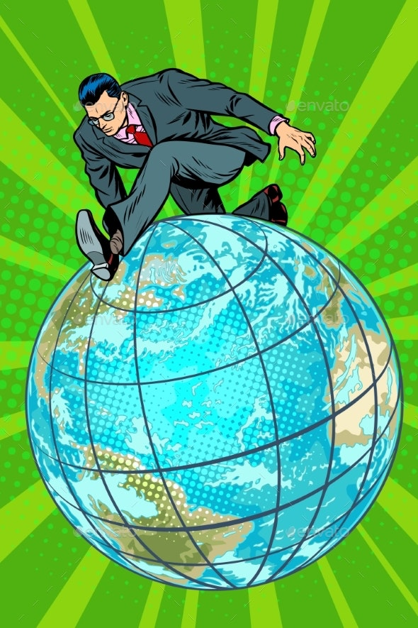 Businessman Walking on the Planet - Concepts Business