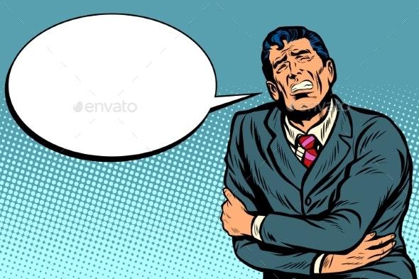 Businessman Has a Stomach Ache - Business Conceptual