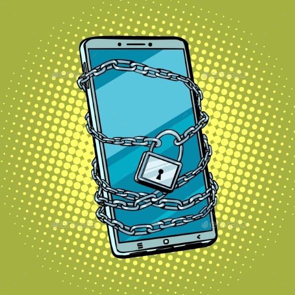 Smartphone Chain Lock. Locked Gadget. - Technology Conceptual