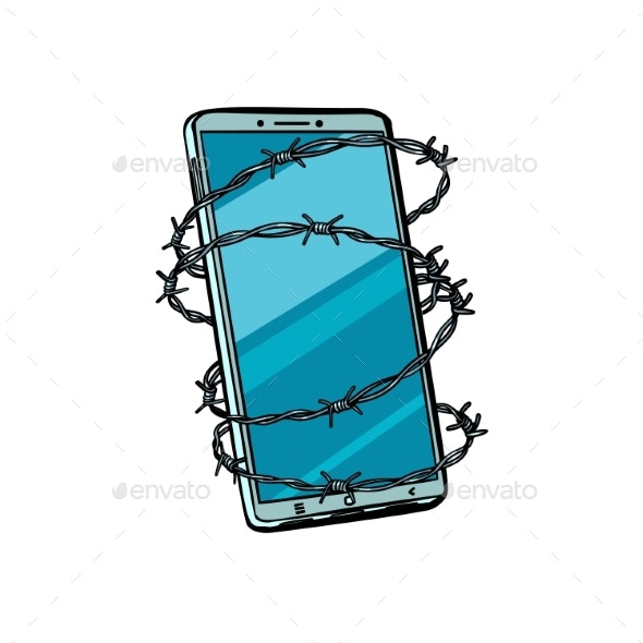 Barbed Wire and Telephone. Isolated on White - Technology Conceptual