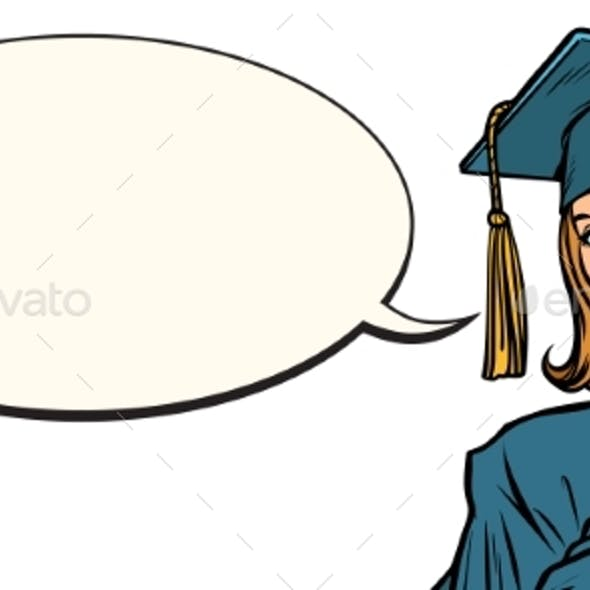 Female Graduate Comic Book Bubble
