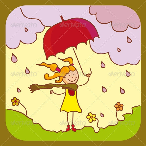 Girl With Red Umbrella - People Characters