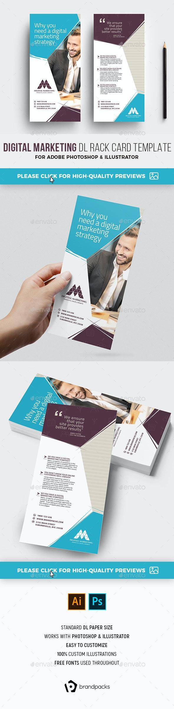 Digital Marketing DL Rack Card Template - Corporate Flyers